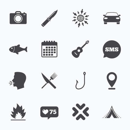 Calendar, go to web and like counter. Camping travel icons. Fishing, campfire and tourist tent signs. Guitar music, fork and knife symbols. Sms speech bubble, talk symbols. Illustration