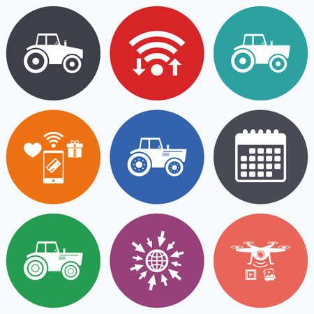 agricultural industry: Wifi, mobile payments and drones icons. Tractor icons. Agricultural industry transport symbols. Calendar symbol. Illustration