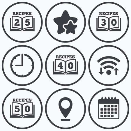 25 30: Clock, wifi and stars icons. Cookbook icons. 25, 30, 40 and 50 recipes book sign symbols. Calendar symbol.