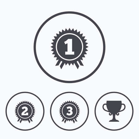 second prize: First, second and third place icons. Award medals sign symbols. Prize cup for winner. Icons in circles.