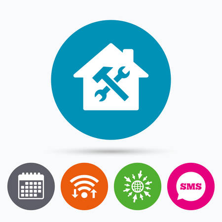 screw key: Wifi, Sms and calendar icons. Service house. Repair tool sign icon. Service symbol. Hammer with wrench. Go to web globe. Illustration