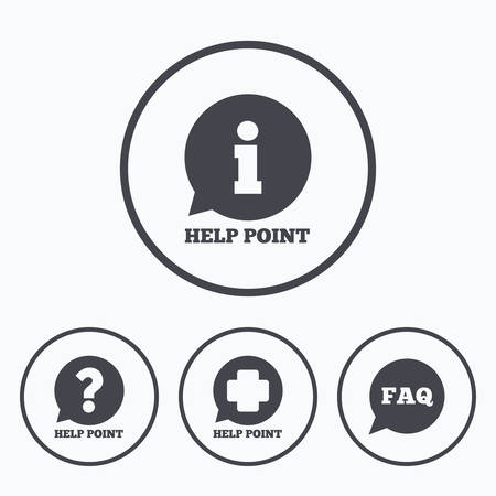 medical questions: Help point icons. Question and information symbols. FAQ speech bubble signs. Icons in circles.