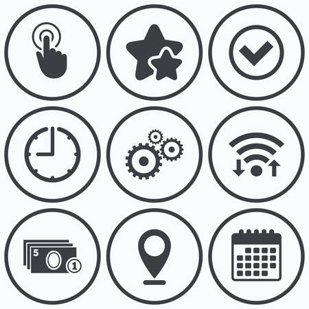 withdrawal: Clock, wifi and stars icons. ATM cash machine withdrawal icons. Click here, check PIN number, processing and cash withdrawal symbols. Calendar symbol. Illustration