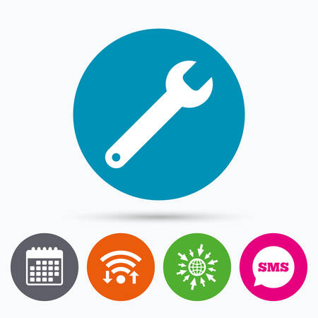 Wifi, Sms and calendar icons. Wrench key sign icon. Service tool symbol. Go to web globe.