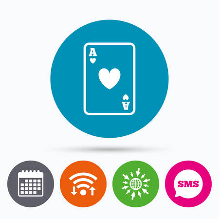 ace of hearts: Wifi, Sms and calendar icons. Casino sign icon. Playing card symbol. Ace of hearts. Go to web globe.