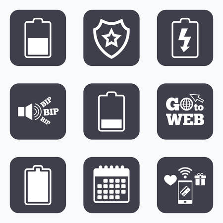 half full: Mobile payments, wifi and calendar icons. Battery charging icons. Electricity signs symbols. Charge levels: full, half and low. Go to web symbol.