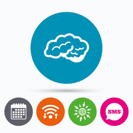 cerebellum: Wifi, Sms and calendar icons. Brain with cerebellum sign icon. Human intelligent smart mind. Go to web globe. Illustration
