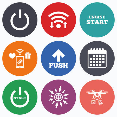 shutdown: Wifi, mobile payments and drones icons. Power icons. Start engine symbol. Push or Press arrow sign. Calendar symbol. Illustration