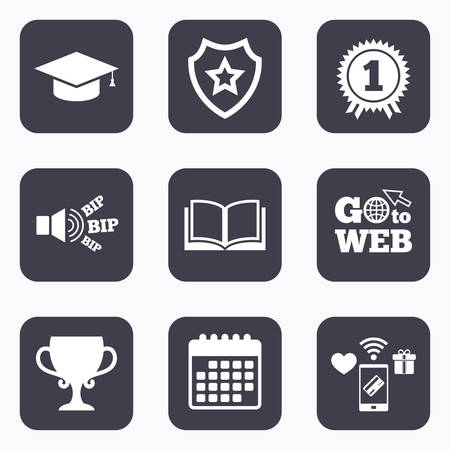 web cap: Mobile payments, wifi and calendar icons. Graduation icons. Graduation student cap sign. Education book symbol. First place award. Winners cup. Go to web symbol.