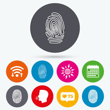 biometric: Wifi, like counter and calendar icons. Fingerprint icons. Identification or authentication symbols. Biometric human dabs signs. Human talk, go to web. Illustration