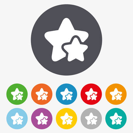 rated: Star icon. Favorite sign. Best rated symbol. Circle colourful buttons. Illustration