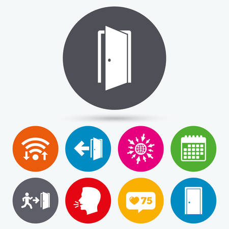 arrow emergency exit: Wifi, like counter and calendar icons. Doors icons. Emergency exit with human figure and arrow symbols. Fire exit signs. Human talk, go to web.