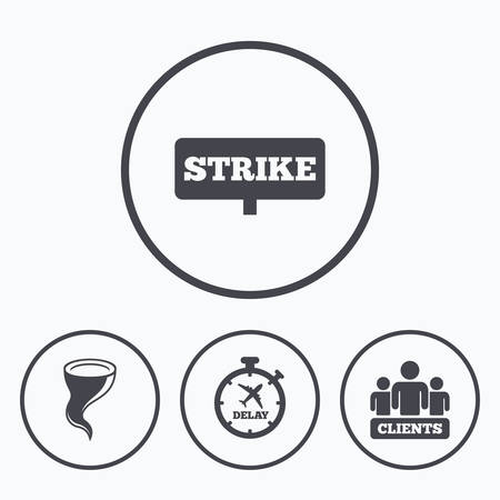 bad weather: Strike icon. Storm bad weather and group of people signs. Delayed flight symbol. Icons in circles. Illustration
