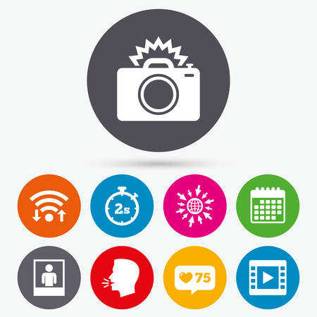 web 2: Wifi, like counter and calendar icons. Photo camera icon. Flash light and video frame symbols. Stopwatch timer 2 seconds sign. Human portrait photo frame. Human talk, go to web.