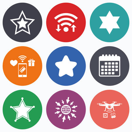 yiddish: Wifi, mobile payments and drones icons. Star of David icons. Sheriff police sign. Symbol of Israel. Calendar symbol. Illustration