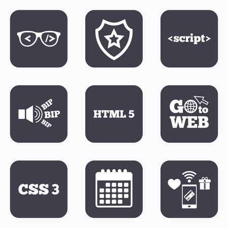 html5: Mobile payments, wifi and calendar icons. Programmer coder glasses icon. HTML5 markup language and CSS3 cascading style sheets sign symbols. Go to web symbol.