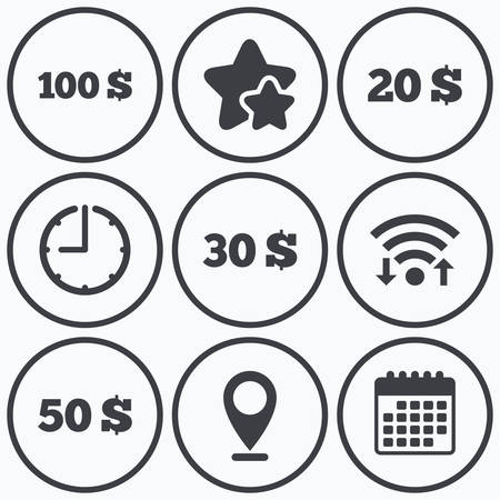 20 30: Clock, wifi and stars icons. Money in Dollars icons. 100, 20, 30 and 50 USD symbols. Money signs Calendar symbol.