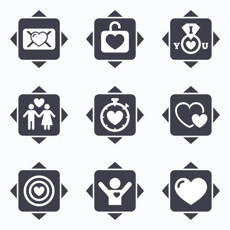 oath: Icons with direction arrows. Love, valentine day icons. Target with heart, oath letter and locker symbols. Couple lovers, boyfriend signs. Square buttons. Illustration