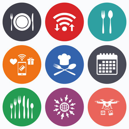 plate camera: Wifi, mobile payments and drones icons. Plate dish with forks and knifes icons. Chief hat sign. Crosswise cutlery symbol. Dessert fork. Calendar symbol.