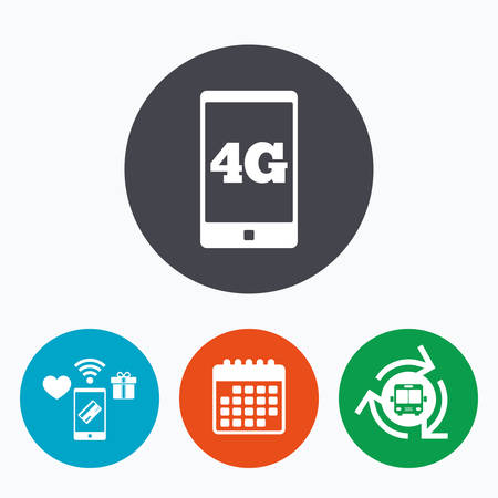 telecommunications technology: 4G sign icon. Mobile telecommunications technology symbol. Mobile payments, calendar and wifi icons. Bus shuttle.