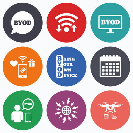 Wifi, mobile payments and drones icons. BYOD icons. Human with notebook and smartphone signs. Speech bubble symbol. Calendar symbol. Illustration