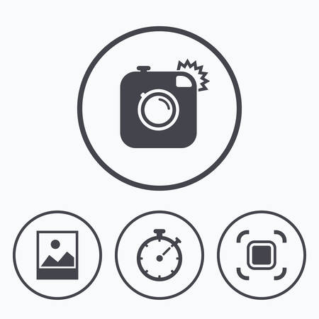 autofocus: Hipster retro photo camera icon. Autofocus zone symbol. Stopwatch timer sign. Landscape photo frame. Icons in circles.
