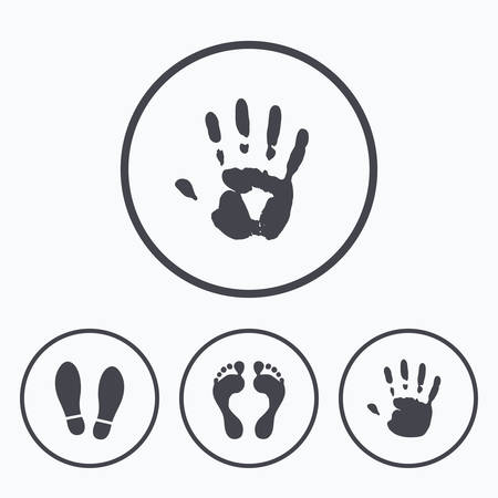 do not enter: Hand and foot print icons. Imprint shoes and barefoot symbols. Stop do not enter sign. Icons in circles.