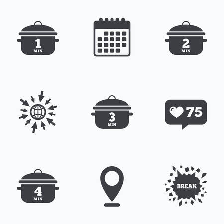 web 2: Calendar, like counter and go to web icons. Cooking pan icons. Boil 1, 2, 3 and 4 minutes signs. Stew food symbol. Location pointer.