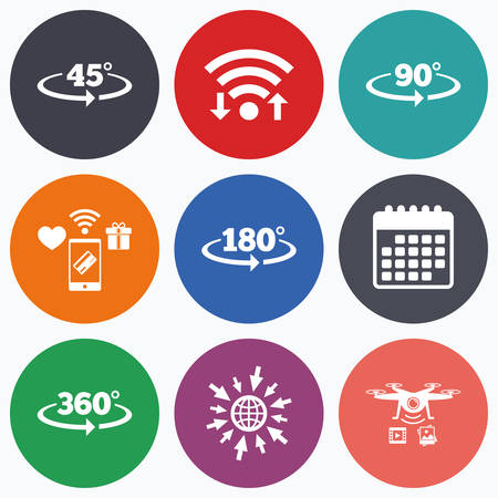 turn on: Wifi, mobile payments and drones icons. Angle 45-360 degrees icons. Geometry math signs symbols. Full complete rotation arrow. Calendar symbol.