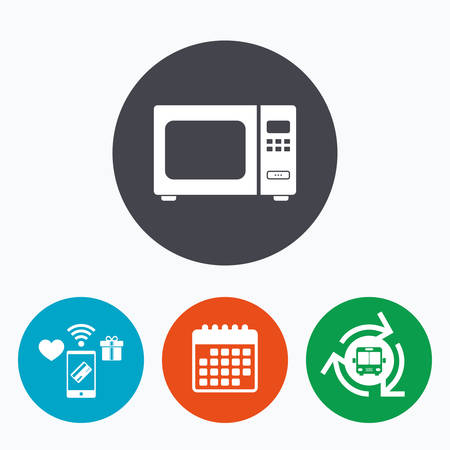 microwave stove: Microwave oven sign icon. Kitchen electric stove symbol. Mobile payments, calendar and wifi icons. Bus shuttle.