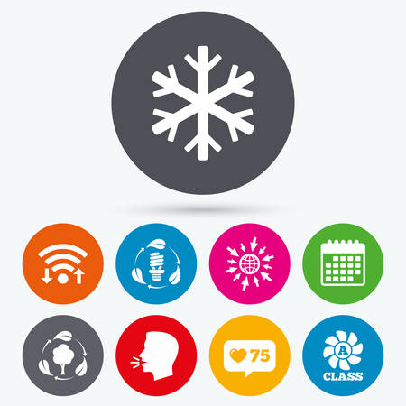 fresh air: Wifi, like counter and calendar icons. Fresh air icon. Forest tree with leaves sign. Fluorescent energy lamp bulb symbol. A-class ventilation. Air conditioning symbol. Human talk, go to web.