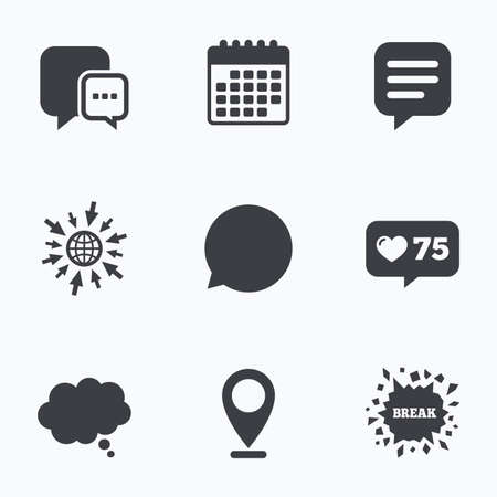 chat icons: Calendar, like counter and go to web icons. Chat icons. Comic speech bubble signs. Communication think symbol. Location pointer. Illustration