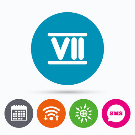 numeral: Wifi, Sms and calendar icons. Roman numeral seven sign icon. Roman number seven symbol. Go to web globe.
