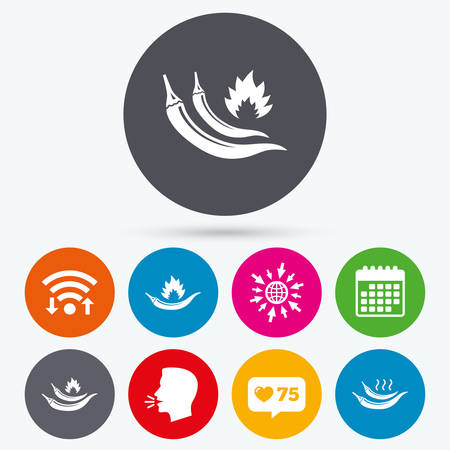 spicy food: Wifi, like counter and calendar icons. Hot chili pepper icons. Spicy food fire sign symbols. Human talk, go to web. Illustration