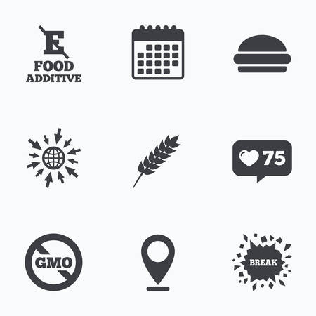 stabilizers: Calendar, like counter and go to web icons. Food additive icon. Hamburger fast food sign. Gluten free and No GMO symbols. Without E acid stabilizers. Location pointer.
