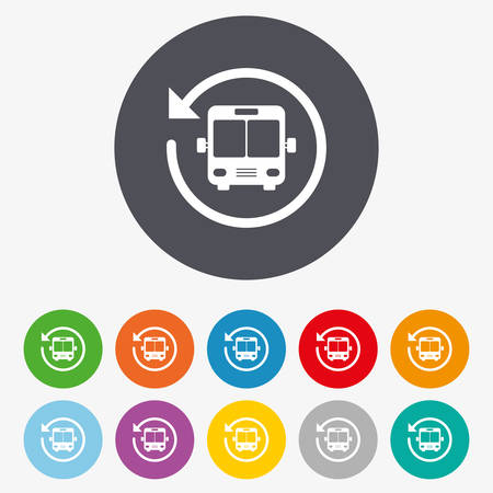 shuttle: Bus shuttle icon. Public transport stop symbol. Circle colourful buttons.
