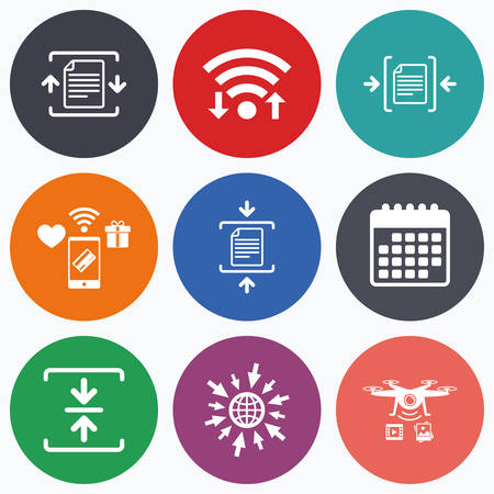 compression: Wifi, mobile payments and drones icons. Archive file icons. Compressed zipped document signs. Data compression symbols. Calendar symbol. Illustration