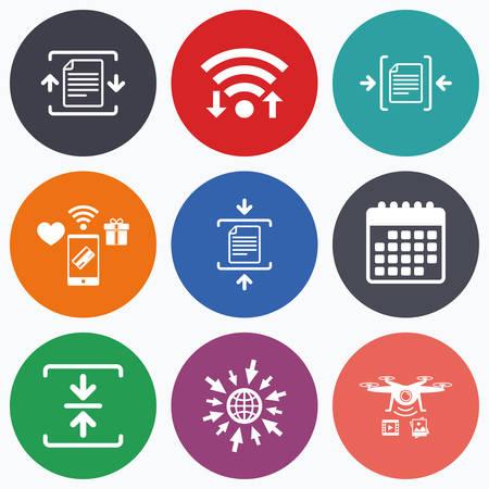 Wifi, pagos móviles y los iconos de aviones no tripulados. iconos de archivo histórico. Comprimido signos de documentos con cremallera. símbolos de compresión de datos. símbolo de calendario. Ilustración de vector