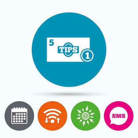 sms payment: Wifi, Sms and calendar icons. Tips sign icon. Cash money symbol. Coin and paper money. Go to web globe. Illustration