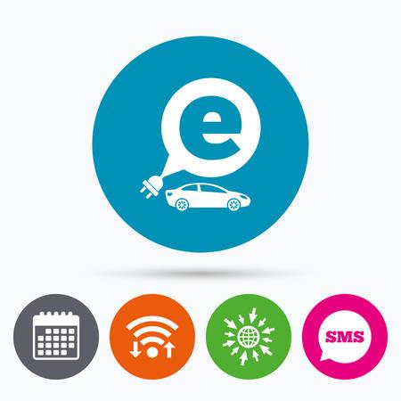 sedan: Wifi, Sms and calendar icons. Electric car sign icon. Sedan saloon symbol. Electric vehicle transport. Go to web globe.