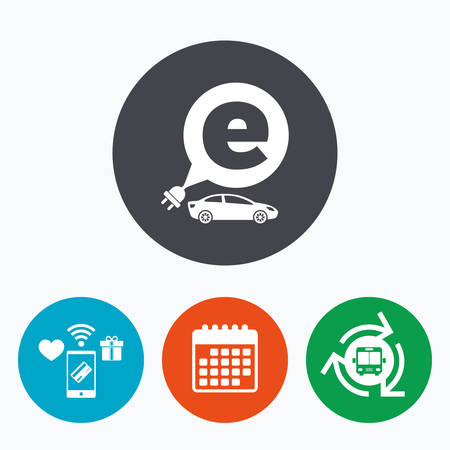 electric vehicle: Electric car sign icon. Sedan saloon symbol. Electric vehicle transport. Mobile payments, calendar and wifi icons. Bus shuttle.