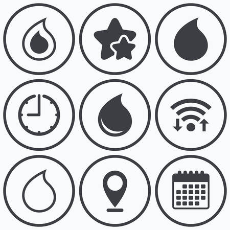 tear drop: Clock, wifi and stars icons. Water drop icons. Tear or Oil drop symbols. Calendar symbol. Illustration