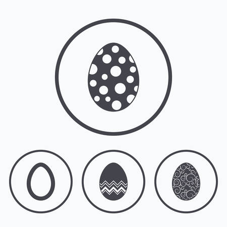 pasch: Easter eggs icons. Circles and floral patterns symbols. Tradition Pasch signs. Icons in circles.