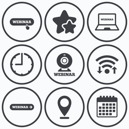 webinar: Clock, wifi and stars icons. Webinar icons. Web camera and notebook pc signs. Website e-learning or online study symbols. Calendar symbol.