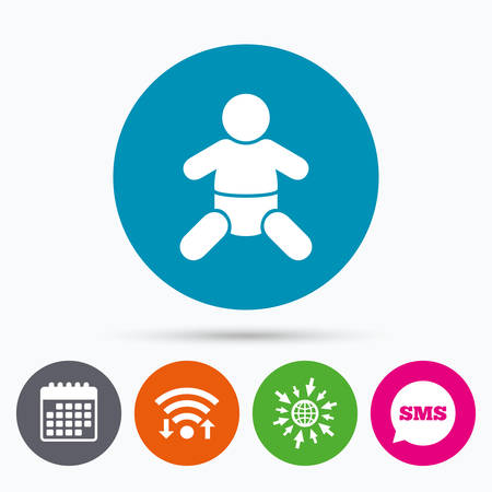 baby toilet: Wifi, Sms and calendar icons. Baby infant sign icon. Toddler boy with diapers symbol. Child WC toilet. Go to web globe.