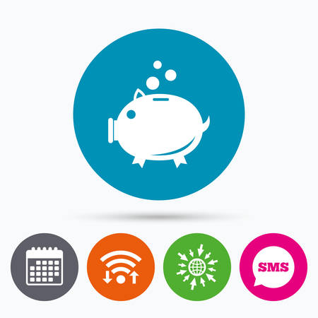 thrift: Wifi, Sms and calendar icons. Piggy bank sign icon. Moneybox symbol. Go to web globe.