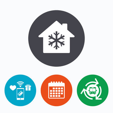 indoors: Air conditioning indoors icon. Snowflake sign. Mobile payments, calendar and wifi icons. Bus shuttle.