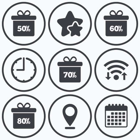 50 to 60: Clock, wifi and stars icons. Sale gift box tag icons. Discount special offer symbols. 50%, 60%, 70% and 80% percent discount signs. Calendar symbol.