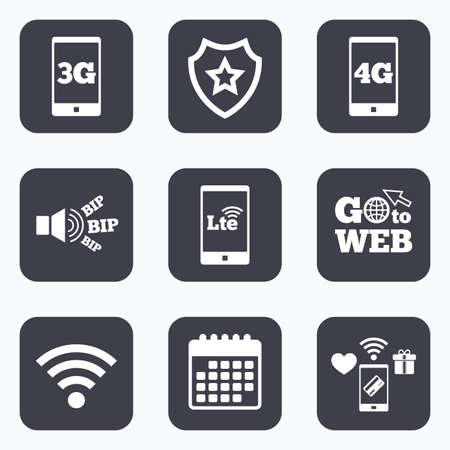 long term evolution: Mobile payments, wifi and calendar icons. Mobile telecommunications icons. 3G, 4G and LTE technology symbols. Wi-fi Wireless and Long-Term evolution signs. Go to web symbol.