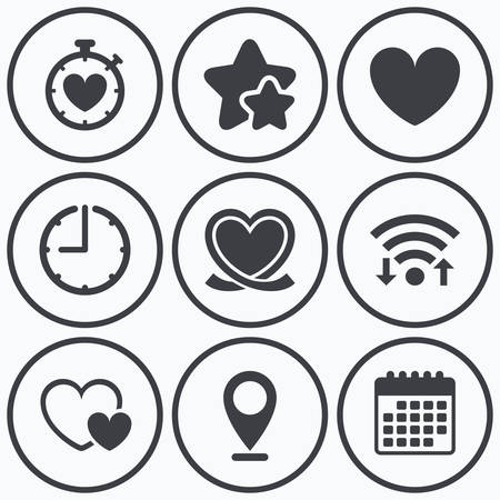 palpitation: Clock, wifi and stars icons. Heart ribbon icon. Timer stopwatch symbol. Love and Heartbeat palpitation signs. Calendar symbol. Illustration